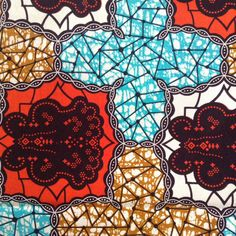 African fabric Orange Red Blue Wax print African by ChilliPeppa