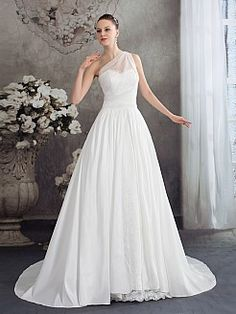 One Shoulder Organza and Satin Wedding Dress with Lace Decor - USD $218.00