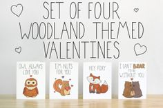 Set of Four Woodland Themed Valentines. Illustrations and Lettering. 100% Percent Recycled Paper