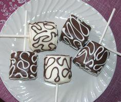 Jumbo Marshmallow Pops Dipped in Milk or White Chocolate Drizzled with Milk or White Chocolate Wedding Party Favor 1 dozen. $15.00, via Etsy.