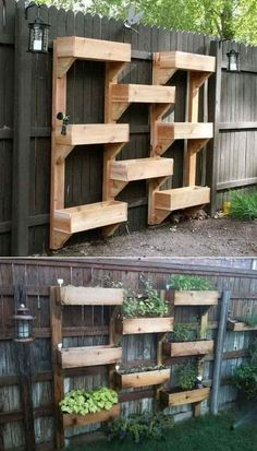 Related posts: 65 Small Backyard Garden Landscaping Ideas 60 Beautiful Backyard Garden Design Ideas And Remodel Easy and Affordable DIY Backyard Ideas and Projects Piccolo-Backyard-Hill-Landscaping-Ideas-to-Get-Cool-Backyard-Landscaping. Vertical Garden Wall, Vertical Gardens, Fence Garden, Vertical Planter, Fence Planters, Planter Garden, Raised Herb Garden, Diy Fence, Tiered Planter