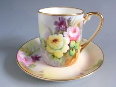 Old Noritake Cup and Saucer 1910 Tea Cup Set, My Cup Of Tea, Cup And Saucer Set, Tea Cup Saucer, Teapots And Cups, Teacups, Tea And Crumpets, Pink Cups, Vases