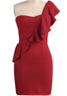 Red One Shoulder Ruffle Bodycon Dress US$23.26