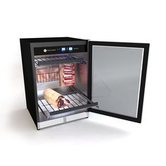 Steak Locker // Home Edition The Steak Locker Smart Home Dry-Aging Fridge allows you to combine traditional craft and skill with modern connectivity. With an elegant stainless steel design, Dry Aged Steak, Meat Butcher, Prime Steak, Luxury House Plans, Preserving Food, Cooking Tools, Smart Home