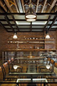 Wood counter and set up via Jane Kim Design - eclectic - kitchen - Jane Kim Design on houzz.