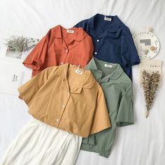 Special Price for Mferlier Woman Shirts Short Sleeve Solid Color Casual Ladies Tops and Blouses Cotton Linen Womens Blouses and Tops If You . Cute Casual Outfits, Simple Outfits, Mode Outfits, Fashion Outfits, Foto One, Clothing Photography, Blouse Vintage, Aesthetic Clothes, Blouses For Women