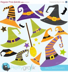 80% OFF SALE Halloween Hats clipart, commercial use, vector graphics, digital clip art, digital images - CL574
