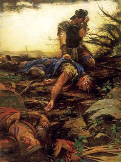 I Even Remain Alone - Walter Rane. Moroni, finding his father, Mormon, after the final battle with the Lamanites.