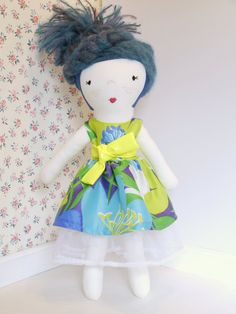 Blue hair rag doll, cloth doll, textile doll, handmade fabric doll, one of a kind doll