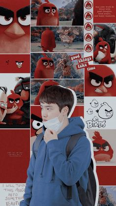 o and RED angry bird. D O Exo, Exo Do, Kyungsoo, I Wallpaper, Wallpaper Quotes, K Pop, Red Angry Bird, Exo Lockscreen, Exo Ot12