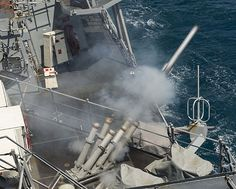 A chaff round in launched from the guided-missile destroyer USS Stout (DDG 55) while conducting a counter targeting and anti-ship missile defense exercise.