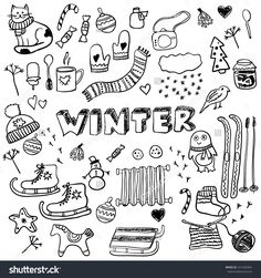 Winter doodles collection. Stylish design elements: ice skates, christmas tree, snowman, socks and others.