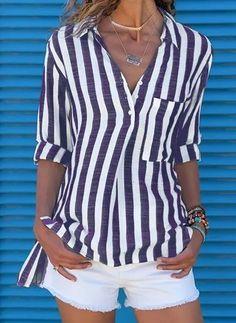 Buy Cotton Blouses, Online Shop, Women's Fashion Cotton Blouses for Sale - Floryday Womens Fashion Online, Latest Fashion For Women, Latest Fashion Trends, Suits For Women, Blouses For Women, Stripped Shirt, Suit Fashion, Fasion, Cotton Blouses