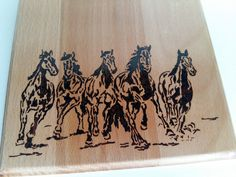 Abstract Horses pyrography photo for wall by WoodBurningStudio