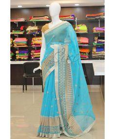 Blue designer supernet saree in heavy embroidery work