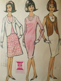 Vintage McCall's 7704 Sewing Pattern, Sheath Dress, 1960s Dress Pattern, 1960s Pattern, Blouse Jacket, Skirt, Bust 32, Vintage Sewing Supply