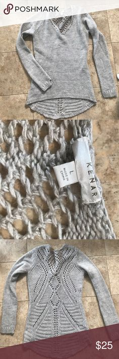 Kenar sweater Beautiful and like new! 70% acrylic. 25%wool 5% alpaca. Longer in back. Kenar Sweaters V-Necks