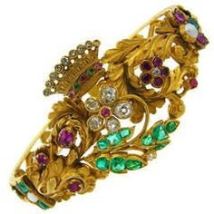 Victorian Pearl  Ruby Emerald Diamond Gold Mourning Bangle Bracelet