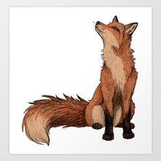 Red Fox Art Print by Lyndsey Green Illustration - X-Small Animal Drawings, Art Drawings, Fuchs Illustration, Fuchs Tattoo, Fox Drawing, Desenho Tattoo, Fox Art, Digital Prints, Art Photography