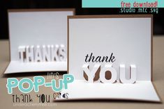 Jin's Pop-up Thank You cards Pop Up Karten, Karten Diy, Pop Up Card Templates, Thank You Card Template, Origami Templates, Paper Cards, Diy Cards, Plotter Silhouette Cameo, Silhouette Studio