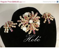 Vintage Hobe Red/Pink AB Rhinestone & White Givre Stones Demi Parure (Earrings & Brooch) ~ Atomic / Tiered Design by MarlosMarvelousFinds, $74.80