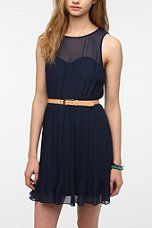 Urban Outfitters - Pins And Needles Chiffon-Top Pleated Dress