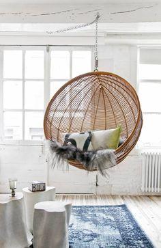 ♡♡♡ HK-living  Hangstoel bruin naturel rotan bal Ø108x83cm  - wonenmetlef.nl