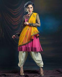 JOY MITRA Pink Frock Style Kurta and Dhoti Set