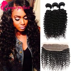 Human Hair Weaves Fashion Style Say Me 3 Bundle Deals Bouncy Curly Human Hair Weave Bundles With Closure Funmi Peruvian Hair Bundles With Closure Non Remy 1b Diversified In Packaging