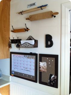 hooks on wall for silpat, baking mat, rolling pins, other long kitchen items