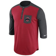Nike Ohio State Buckeyes Scarlet Touch Henley 3/4-Sleeve Performance T-Shirt