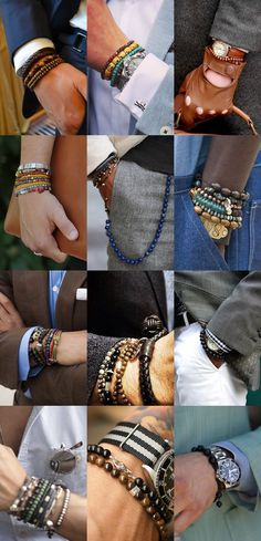 Men& Style Tips: Men& Wrist Wear. Take a look and see how you can rock your wrist. There is a wide selection out there from beaded, to metal, to le. Wearing Accessories Tips Fashion Moda, Look Fashion, Mens Fashion, Fashion Tips, Fashion Trends, Fashion Ideas, Mens Bracelet Fashion, Fashion Menswear, Trending Fashion