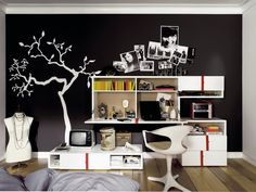 Black Wall Decor with Trees Murals in Modern Bedroom