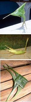 Palm weaving with palm fronds (leaves) is often associated with Easter. You can make Christian symbols such as crosses and a crownof thorns. You can also make fishes, birds, grasshoppers, baskets,