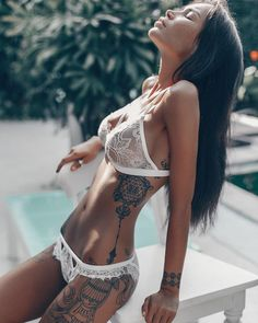 Romantic And Sexy Honeymoon Lingerie Ideas ★ honeymoon lingerie white lingerie set gooseberryintimates Hot Tattoo Girls, Tattoed Girls, Inked Girls, Tattoed Women, Honeymoon Lingerie, Wedding Lingerie, Sexy Tattoos, Girl Tattoos, Tatoos