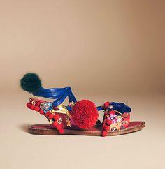 Dolce & Gabbana Pom-Pom Leather Lace-Up Sandals
