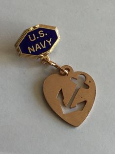 Genuine Vintage WWII Sweetheart Pin US NAVY Enamel 1940's Patriotic Homefront Jewelry United States Military Brooch, gifts for her