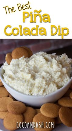 This is the easiest and tastiest Pina Colada Dip! Tastes like summer! - This is the easiest and tastiest Pina Colada Dip! Tastes like summer! - This is the easiest and tastiest Pina Colada Dip! Tastes like summer! Dessert Dips, Dessert Recipes, Baking Desserts, Health Desserts, Picnic Recipes, Potluck Recipes, Mini Desserts, Summer Recipes, Cake Recipes