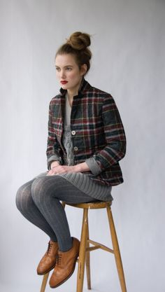 tights - oxfords - a great structures tartan jacket - a sweater dress and a bold lip! Style Outfits, Cute Outfits, Tartan, Grey Tights, Grey Socks, Plaid Jacket, Plaid Coat, Quilted Jacket, School Looks