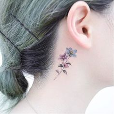 Lovely Ink for Lovely People: Floral Behind the Ear Tattoos