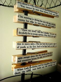 I am so, 100%, totally using this idea! Quotes from a novel, pasted to clothes pins. A great way to get those quotes out of the book and into every day life! Love it.