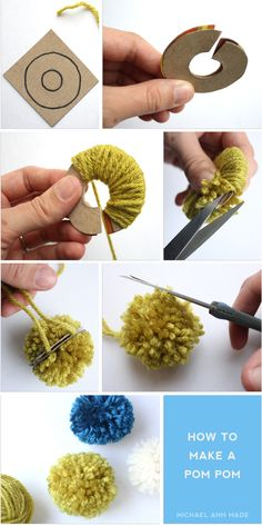 how to make a pom pom with card board... [more at pinterest.com/eventsbygab]
