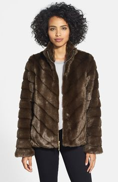 Ellen+Tracy+Grooved+Faux+Mink+Jacket+(Online+Only)+available+at+#Nordstrom