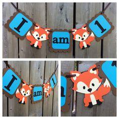 I am 1 fox high chair banner fox cake smash by lilcraftychickadee