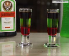 Alligator Tail Shots - For more delicious recipes and drinks, visit us here: www.tipsybartender.com