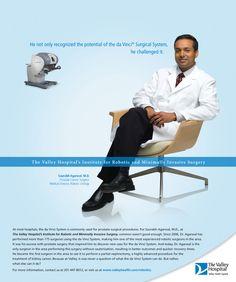 The Valley Hospital - Robotics Campaign print ad; Core Creative, Inc.