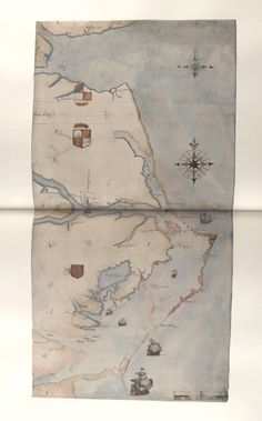 Watercolor drawing (No Caption - Map of Raleigh's Virginia) by John White (created 1585-1586).