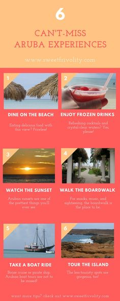 Aruba is one happy island! If you're headed there, these are some can't-miss experiences! For more, be sure to check out https://www.sweetfrivolity.com/single-post/2017/10/21/What-to-Do-in-Aruba-The-Top-8-Must-Try-Experiences.  #aruba #travel #island #vac