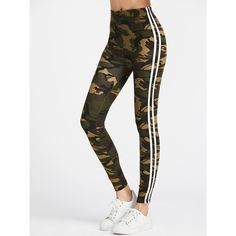Camo Print Striped Side Leggings ($14) ❤ liked on Polyvore featuring pants, leggings, legging pants, camo leggings, camouflage pants, stripe pants and white leggings