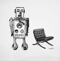 Robot et Fauteuil III Linocut Eric Rewitzer Robot, 3 Fish, Bart Simpson, Artwork, Studios, Artists, Character, Lounge Chairs, Work Of Art
